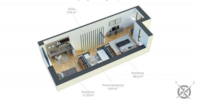 II a planas su 2 kambariais